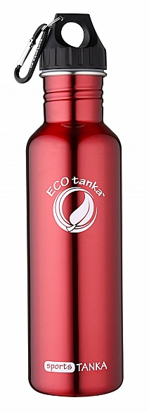 800ml SportsTANKA Red with Poly Loop lid and carabiner
