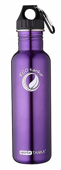800ml SportsTANKA Purple with Poly Loop lid and carabiner