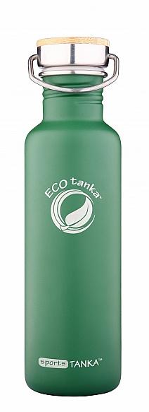 800ml SportsTANKA Green Powder Coating with SS Bamboo lid