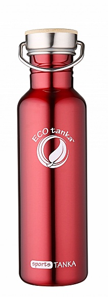800ml SportsTANKA Red with stainless steel bamboo lid