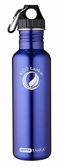800ml SportsTANKA bottle with Poly Loop lid and carabiner